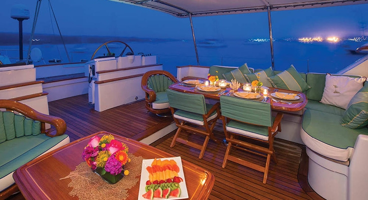 aft dining on the sail yacht Whisper available via Carol Kent Yacht Charters