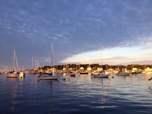 Boats at sunset in Marblehead Harbor, Massachusetts