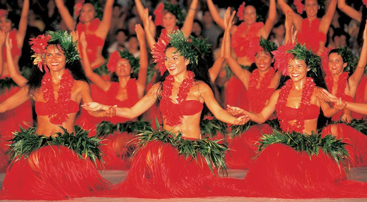 Tahitian dancers in traditional dance costumes