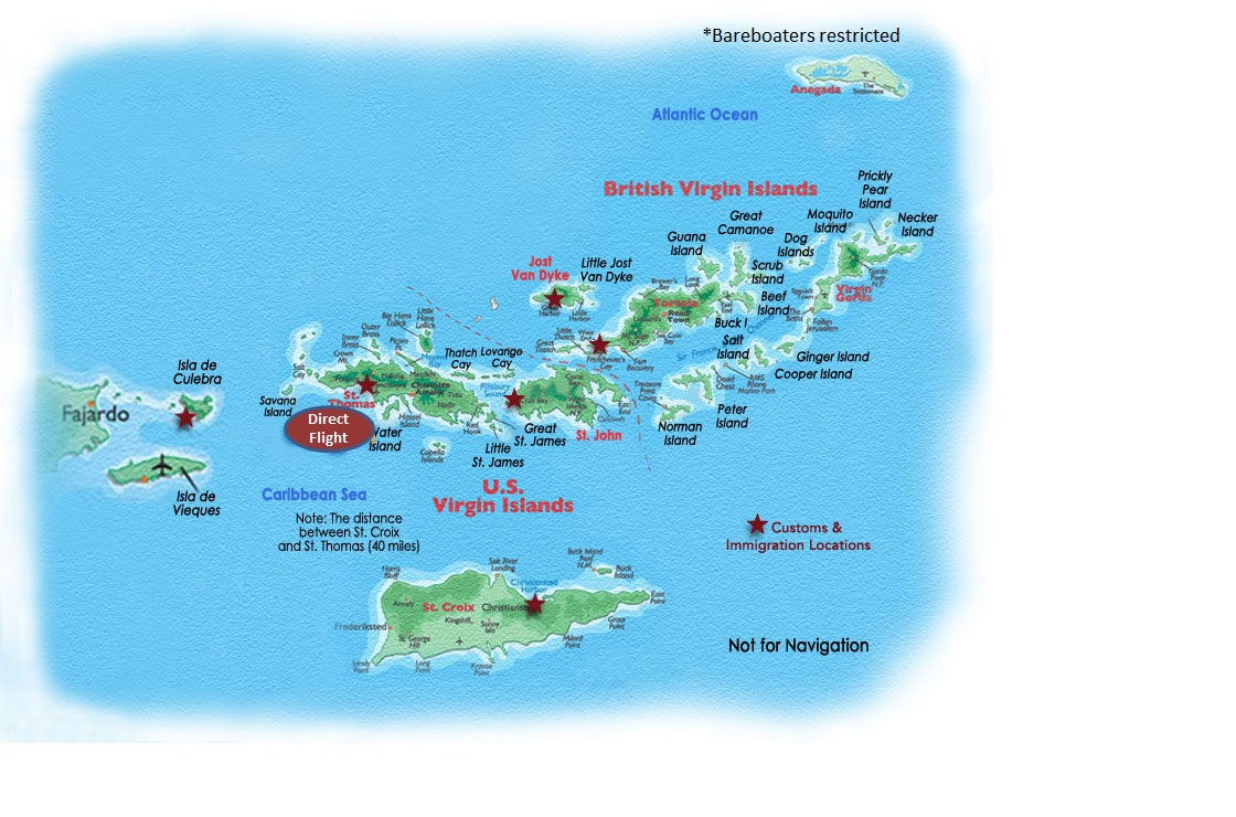 US and BVI Map - Carol Kent Yacht Charters