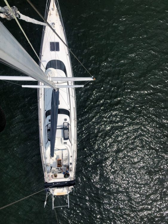 Aerial view of 65ft sailing yacht INDEPENDENCE on the water