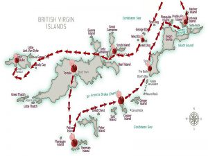 British Virgin Islands Itineray on your yacht vacation - Click to enlarge!