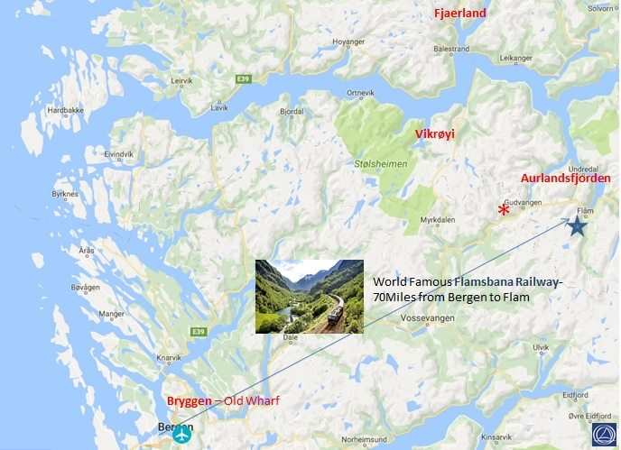 Map of itinerary for yachting in Norway from Flam to Bergen itinerary. Every charter is customized and this is a suggested option.