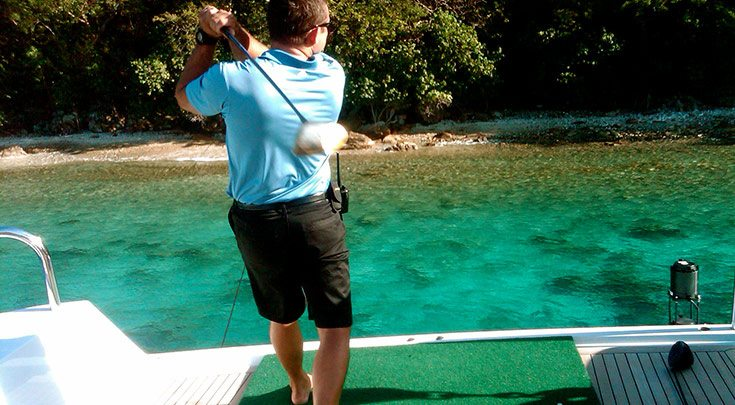 BVI-2 Hitting a golf ball off aft deck