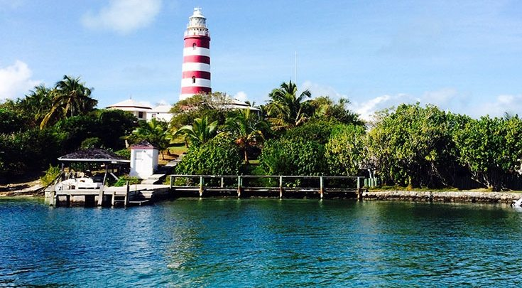 Red and white striped lighthouse Abacos Islands Bahamas