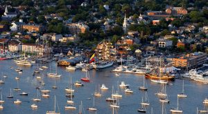 Aerial view of tall ship at Newport, Rhode Island