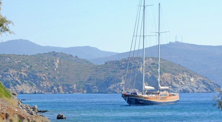 154ft sailing yacht Carpe Diem IV at mooring, operates in the Eastern Mediterranean