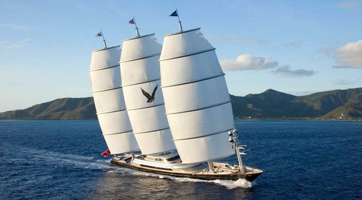289ft Perini Navi sailing yacht MALTESE FALCON at sail