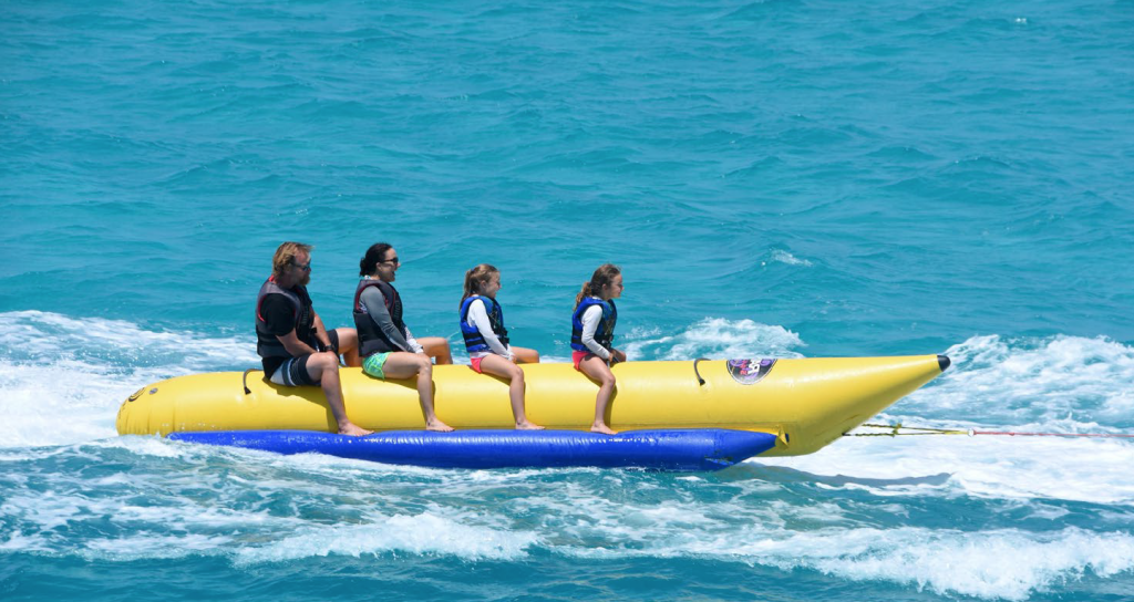Family riding Banana Boat from M/Y BIG EAGLE