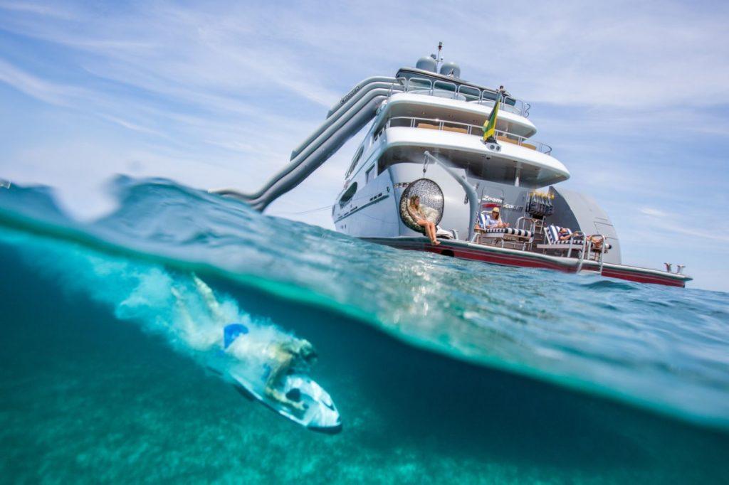 Woman on underwater ski playing in Caribbean off M/Y ZOOM ZOOM ZOOM