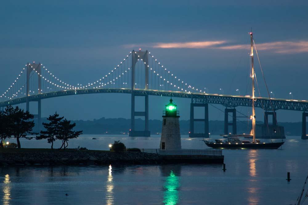 Newport Rhode Island bridge at night Photograph © Frank Ficken