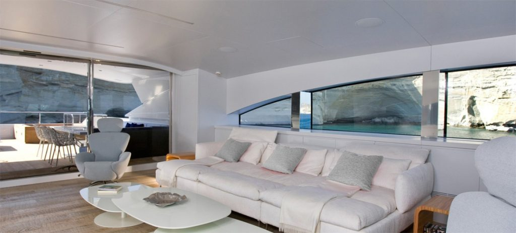 Modern saloon with white couches on the motor yacht BARENTS SEA