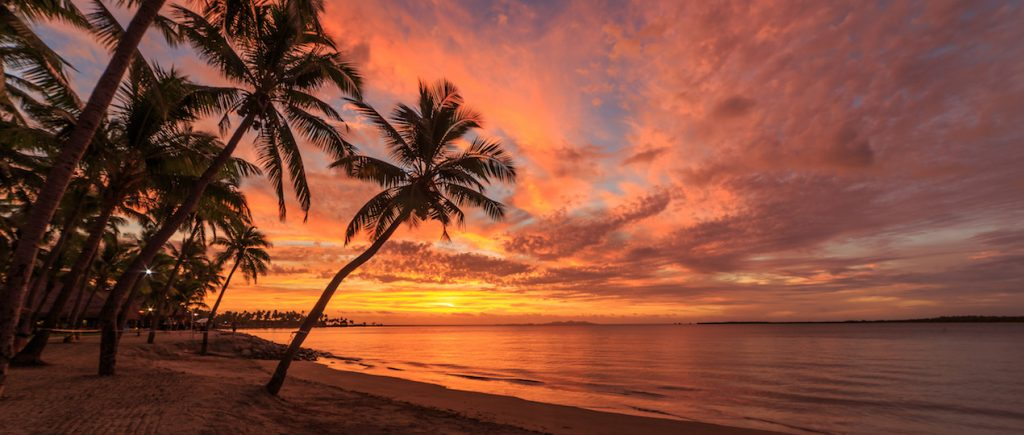Sunset on Fiji beach