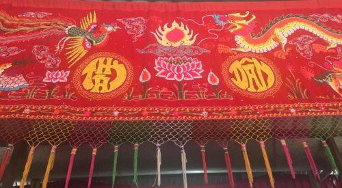 Tapestry Red w Bird Dragon Lotus AQUA MEKONG