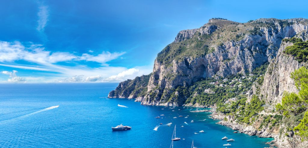 Luxury yachts off Capri in Italy