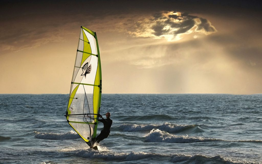 Windsurfing at sunset Caribbean