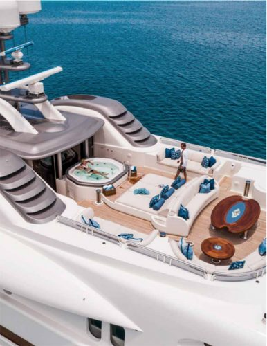 Jacuzzi, dining area and aft sun deck on the motor yacht CALYPSO