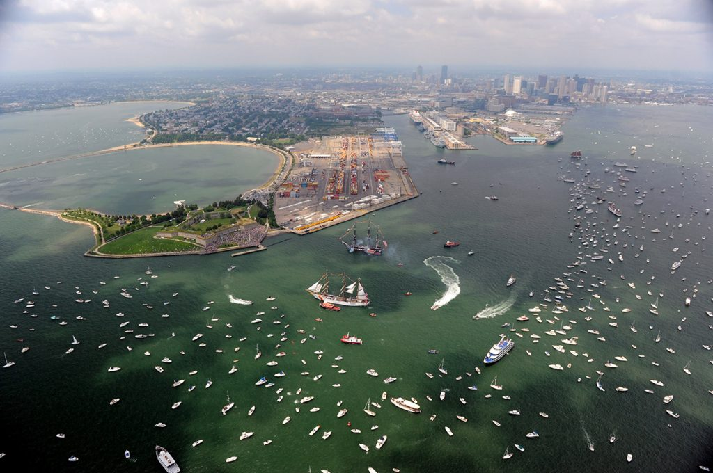 Boston aerial view with boats and yachts