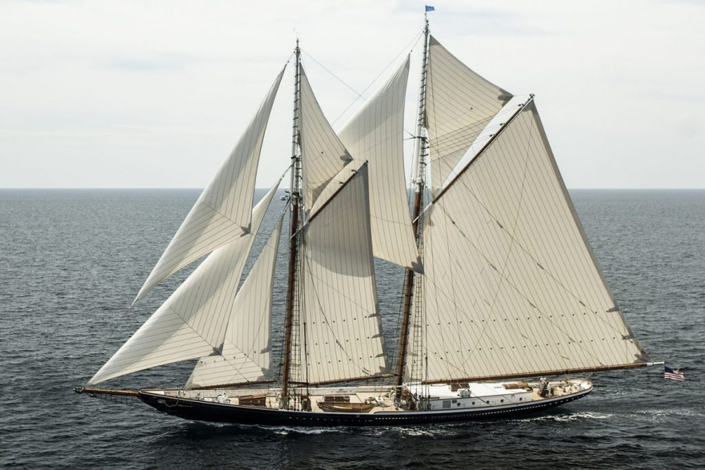 The glorious 141' sailing yacht COLUMBIA in full sail.