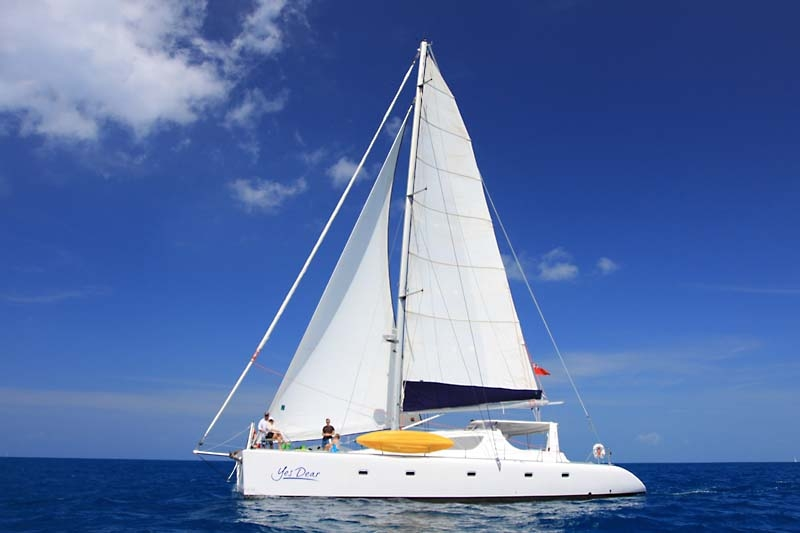 Main shot of 58' sailing yacht catamaran YES DEAR in the Caribbean