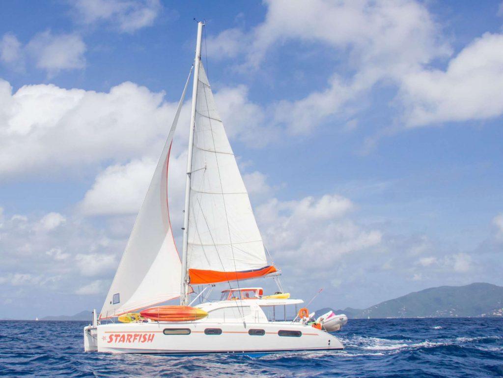 46' Robertson & Caine Leopard catamaran STARFISH at sail