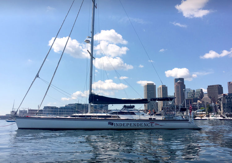 The 60' sailing yacht INDEPENDENCE moored in Boston Harbor