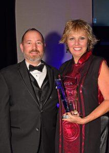 IYBA Charter Professional of the Year award-winner Carol Kent with Jeffrey Shaffer, Charter Management Director, Superyacht Sales and Charter Photo by Suki@YachtingToday.TV