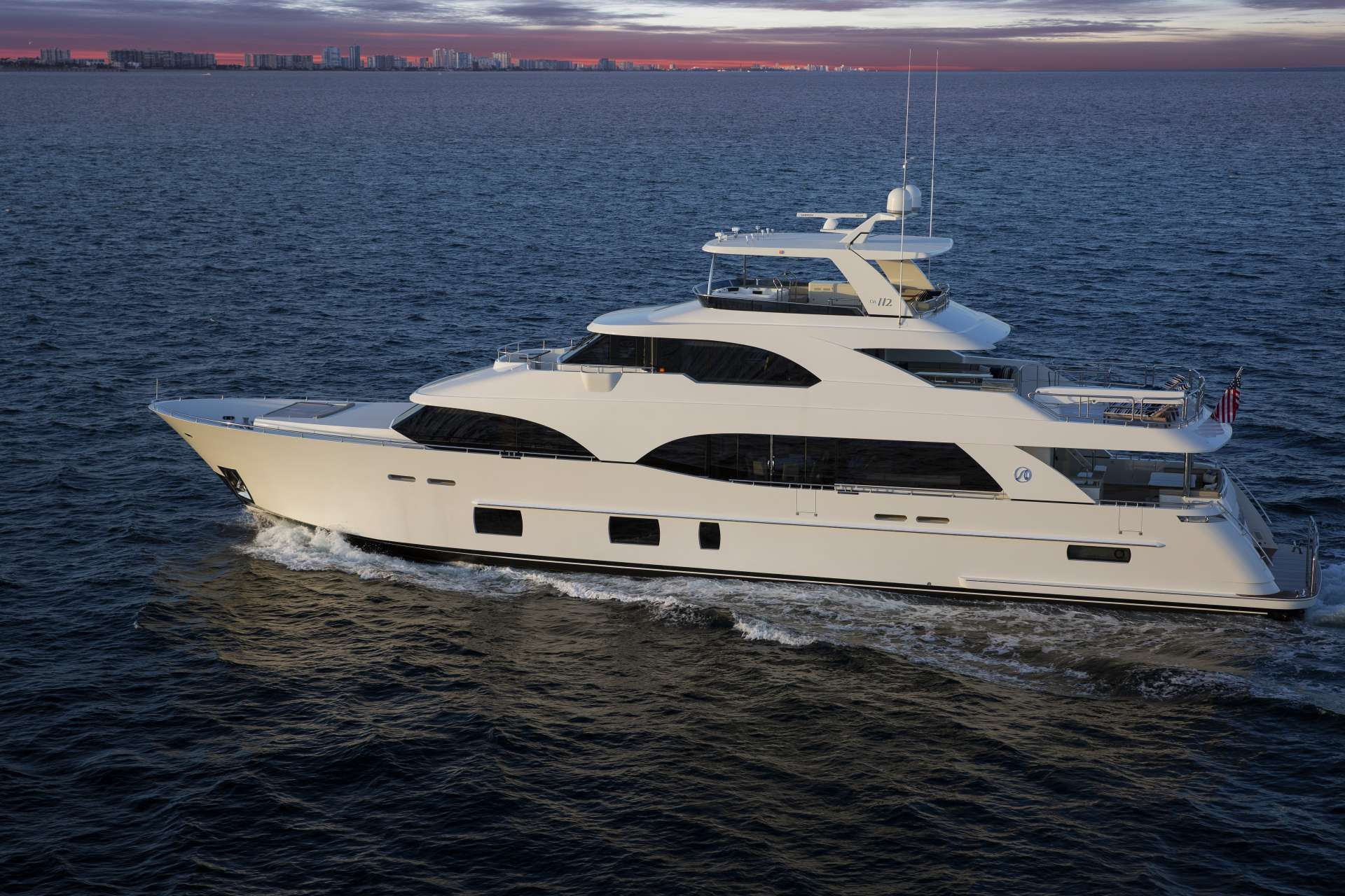 Profile shot of 112ft motor yacht SUGARAY at sea