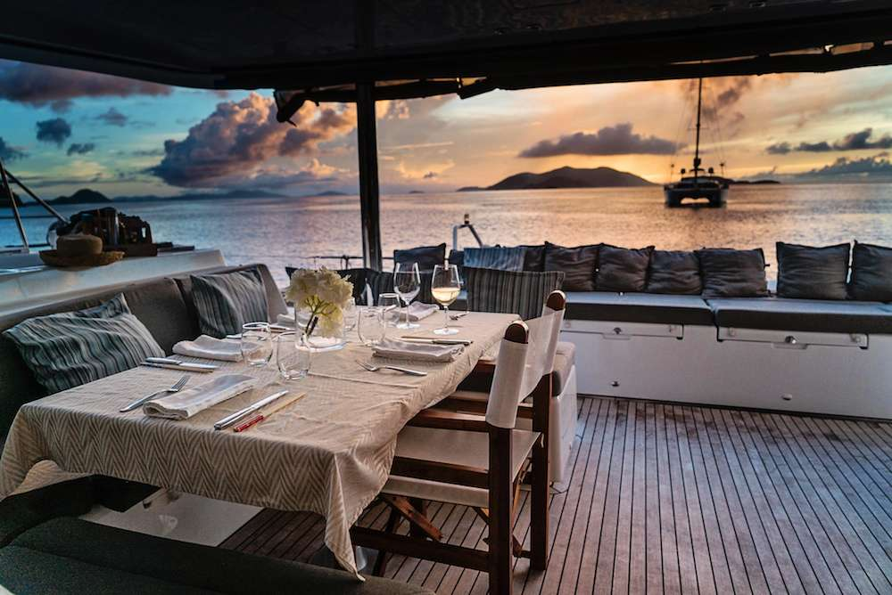Al fresco dining in the sultry Caribbean on the 56ft Lagoon catamaran PLAYTIME