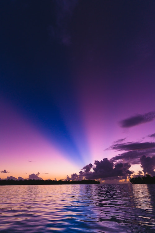 Blue and purple sunset over Bora Bora French Polynesia South Pacific