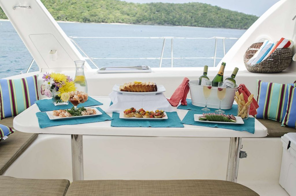 Superb food and wine of the deck of the 47ft Leopard Catamaran PISCES