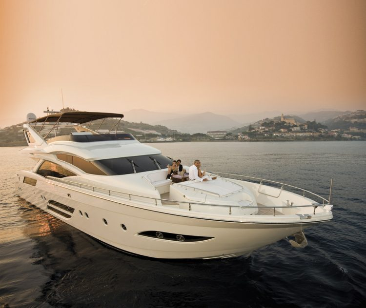 2 glamorous couples take a twilight cruise along the Mediterranean coast on the 78ft Dominator motor yacht SASCHA