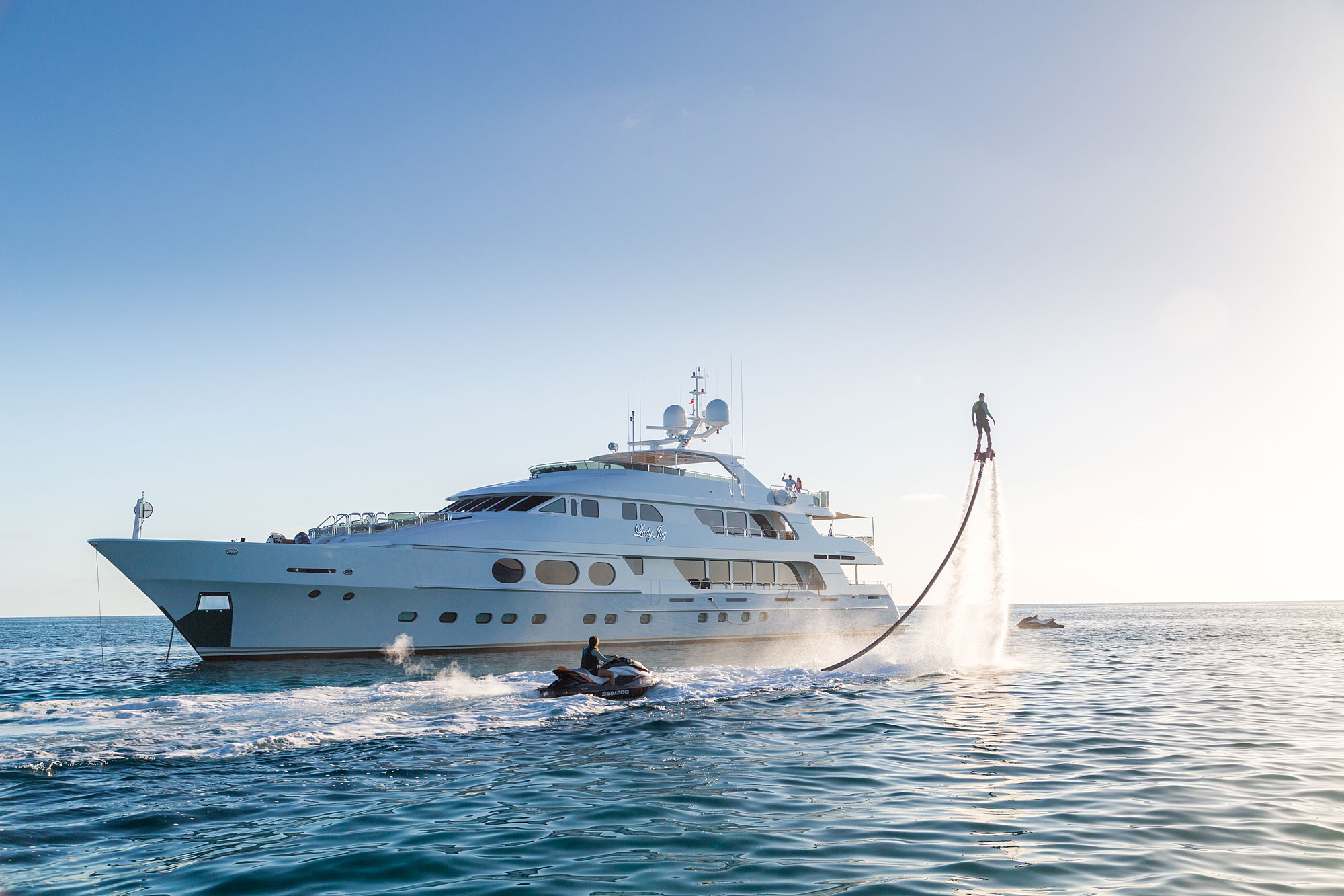 A fly board and SkiDoo are two of motor yacht LADY JOY's many toys