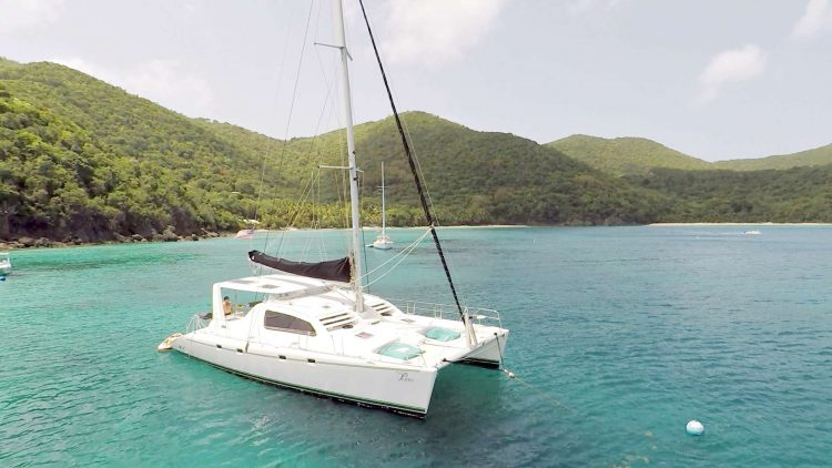 47ft Leopard Catamaran at anchor in the Caribbean