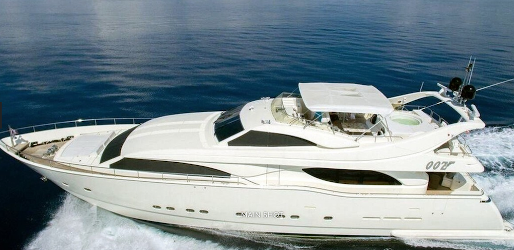 Main shot profile of 94ft motor yacht OOZ on the water
