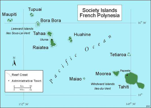 Map of The Society Islands Tahiti Bora Bora French Polynesia