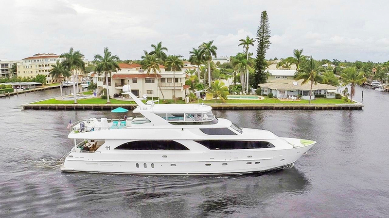 Profile shot of 101ft Hargrave motor yacht CYNDERELLA