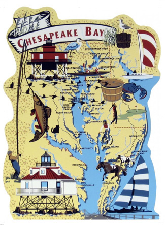 Illustrated map of Chesapeake Bay, Maryland, a yacht-lover's paradise