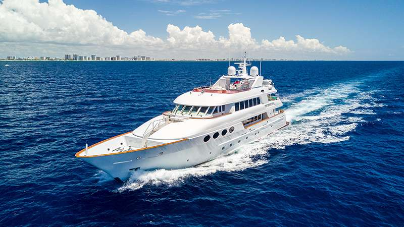 Main shot of 130ft motor yacht RELENTLESS at sea