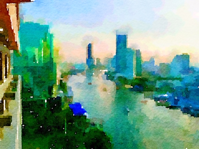 Watercolor painting of Bangkok on the Chao Praya River Thailand Southeast Asia YACHTING FAM TRIP IN THAILAND