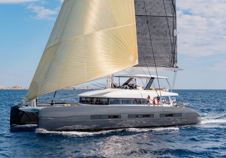 Main shot of Babac 76ft Lagoon Catamaran sailing yacht sailing on the ocean