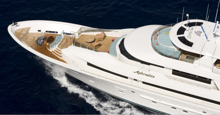 130ft Westport Motor yacht Aphrodite cruises in the Bahamas Caribbean