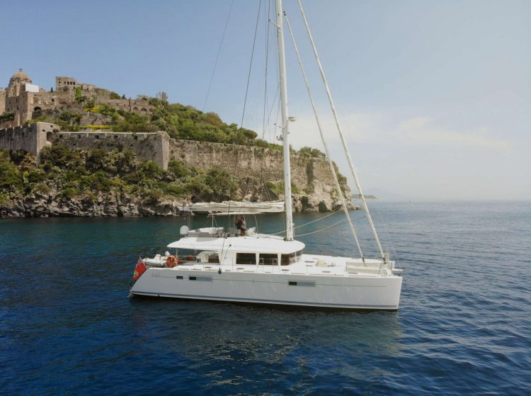 56ft Lagoon sailing yacht catamaran Viramar sails in the Caribbean Virgin Islands
