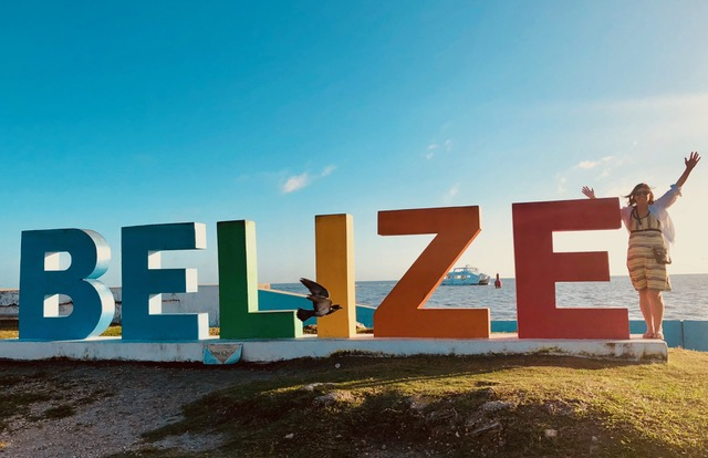 Multi-colored sign of the word Belize