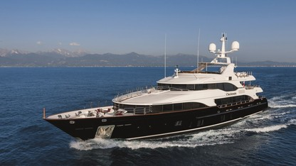 Main shot of 145ft Benetti motor yacht Checkmate operating in The Bahamas