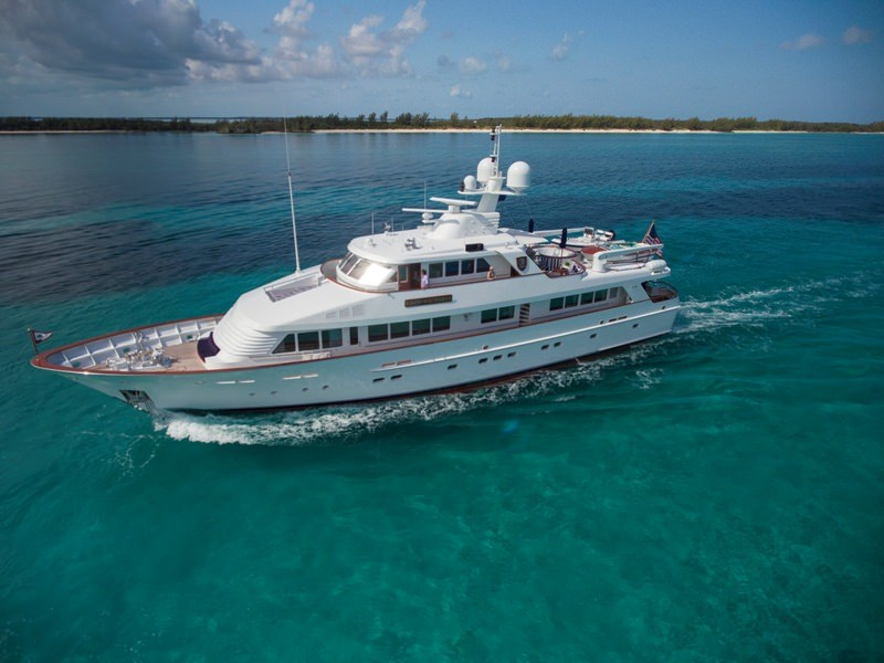 Main shot of Lady Victoria 120ft Classic Feadship motor yacht at sea Operating in the Bahamas, Caribbean and the North America operating in the Bahamas, Caribbean and the North America