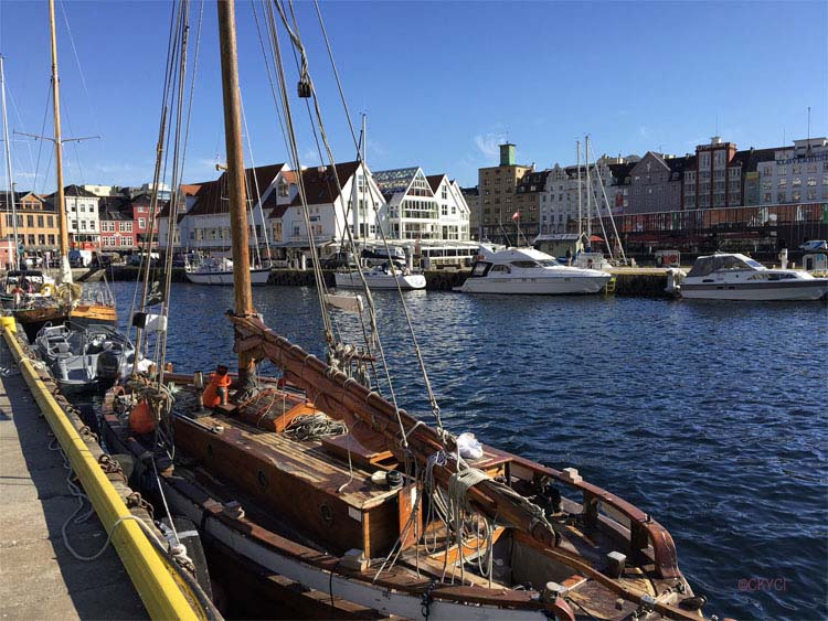 Bergen Harbor with classic sailing boat in foreground Norway ©CKYCI