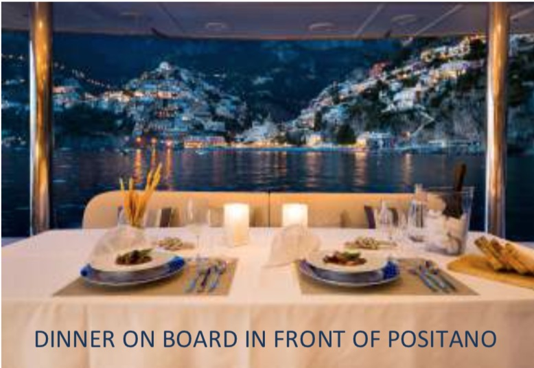 Dinner with a view of Positano, Amalfi Coast, Italy on the 70ft sailing yacht catamaran Ombre Blu 3