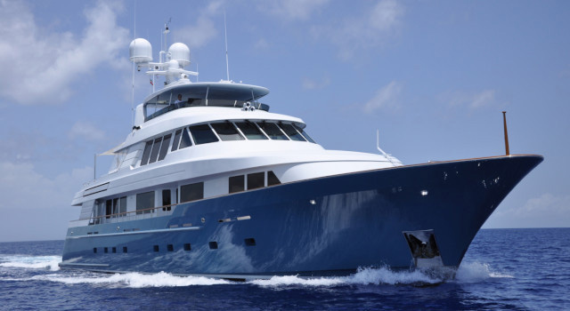 Main shot of 124ft Delta Marine motor yacht Fore Aces