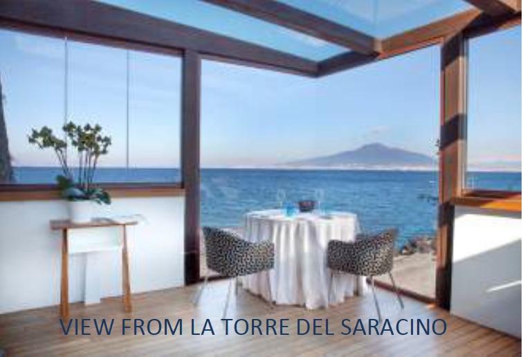 View from 2-star Michelin chef Gennaro Esposito's restaurant, La Torre del Saracino, on the Amalfi Coast